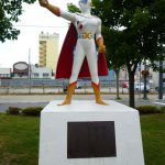 The statue of Gekko Kamen (Moonlight Mask)