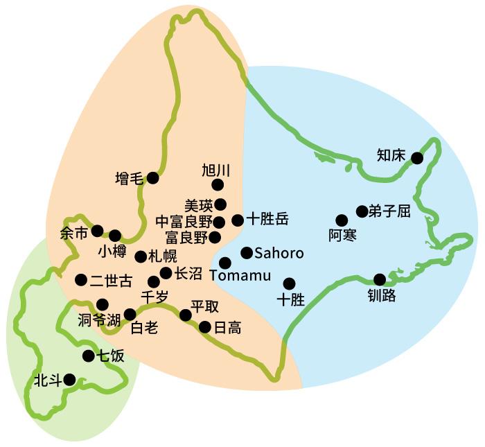 北海道地区地图